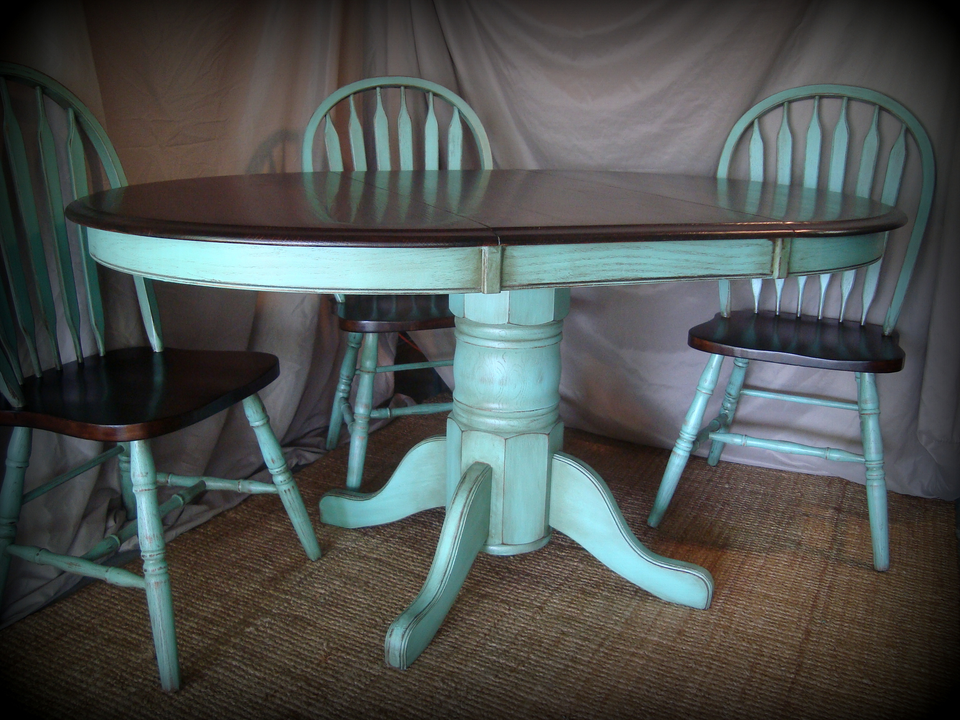 Turquoise end table with distressed gold highlights via for Teal kitchen table